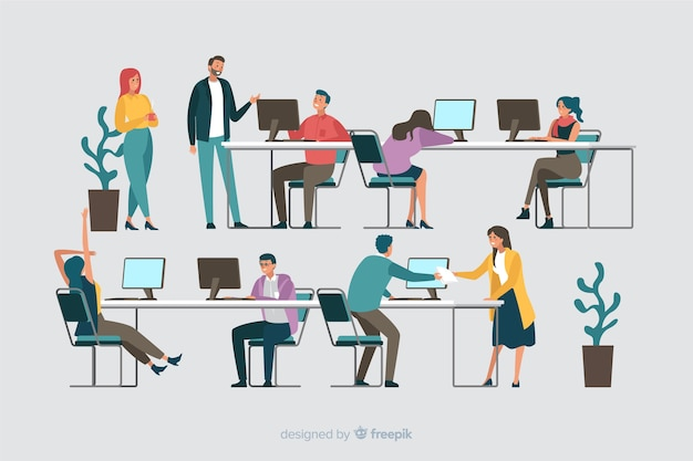 Kolekcja pracowników biurowych siedzących przy biurkach Darmowych Wektorów