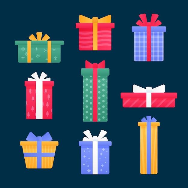 Kolekcja Prezentów świątecznych W Płaskiej Konstrukcji Darmowych Wektorów