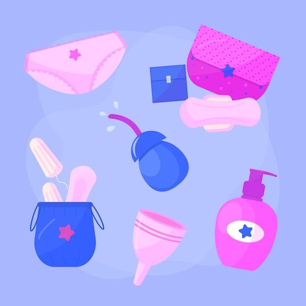 Kolekcja Produktów Do Higieny Intymnej Darmowych Wektorów