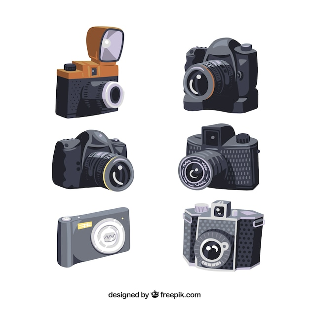 Kolekcja projektów aparatów fotograficznych Darmowych Wektorów