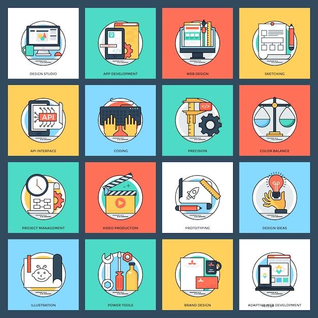 Kolekcja Projektowania I Rozwoju Płaskie Wektorowe Ikony Premium Wektorów