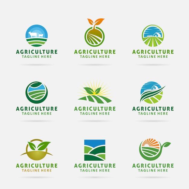 Kolekcja projektu logo rolnictwa Premium Wektorów