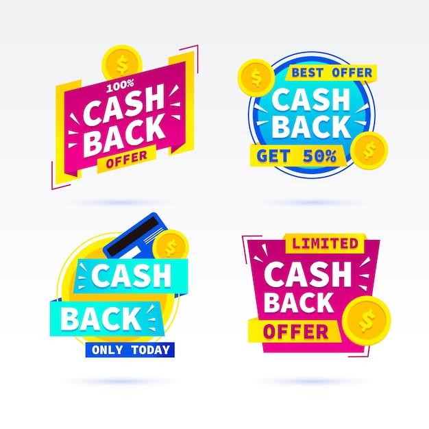 Kolekcja Promocyjnych Etykiet Cashback Darmowych Wektorów