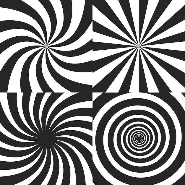 Kolekcja Psychodelicznych Efektów Spiralnych Premium Wektorów