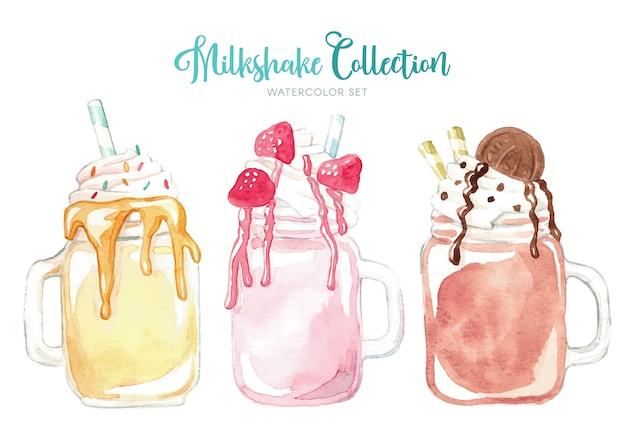 Kolekcja pysznych akwarela milkshake Darmowych Wektorów