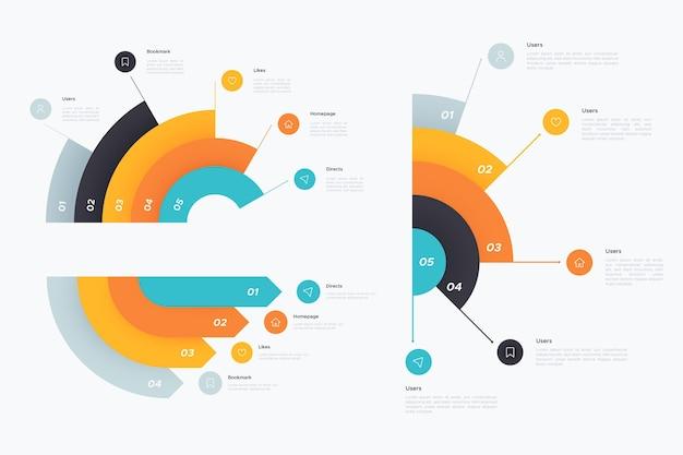 Kolekcja Radialna Infografika Darmowych Wektorów