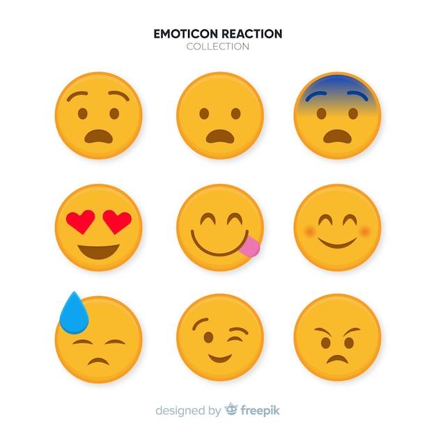 Kolekcja reakcji płaskich emotikon Darmowych Wektorów