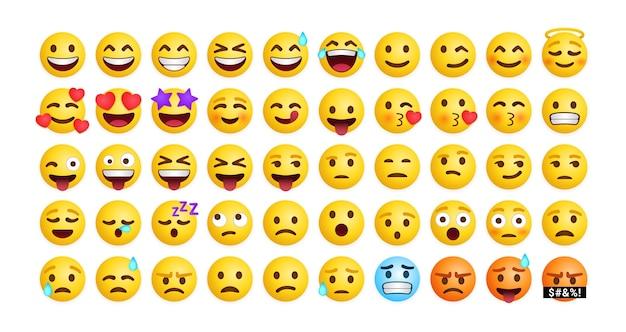 Kolekcja Reakcji Uroczych Emotikonów Na Media Społecznościowe, Zestaw Mieszanych Uczuć Premium Wektorów