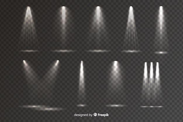 Kolekcja realistycznego oświetlenia sceny Darmowych Wektorów