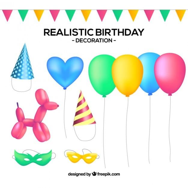 Kolekcja Realistycznej Dekoracji Urodziny Premium Wektorów