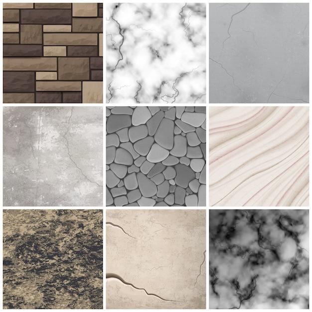 Kolekcja Realistycznych Wzorów Tekstury Kamienia Darmowych Wektorów