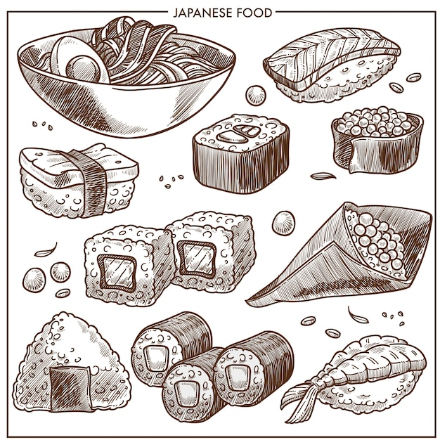 Kolekcja receptur kuchni japońskiej Premium Wektorów