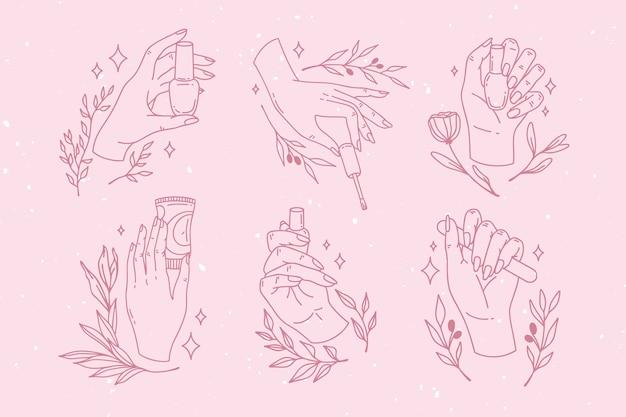 Kolekcja Ręcznie Rysowane Do Manicure Darmowych Wektorów
