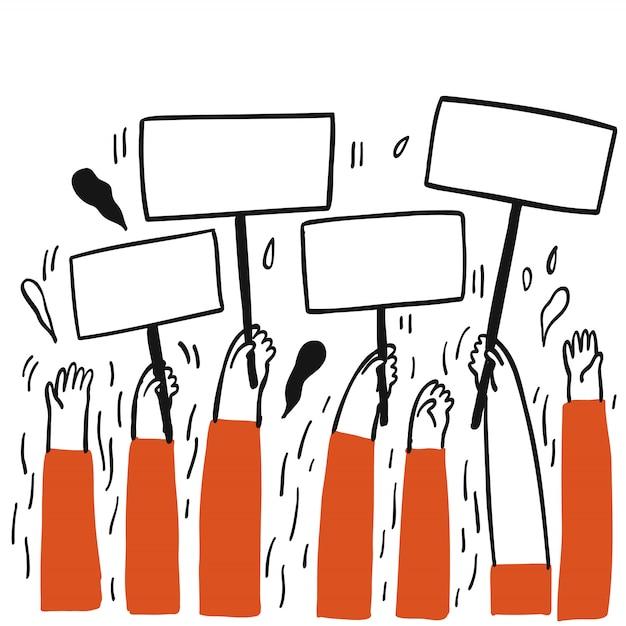 Kolekcja Ręcznie Rysowane Grupa Ludzi Trzymających Pustą Etykietę Czekając Na Ktoś Ją Wypełnić Ilustracje Wektorowe Szkic Stylu Bazgroły Premium Wektorów