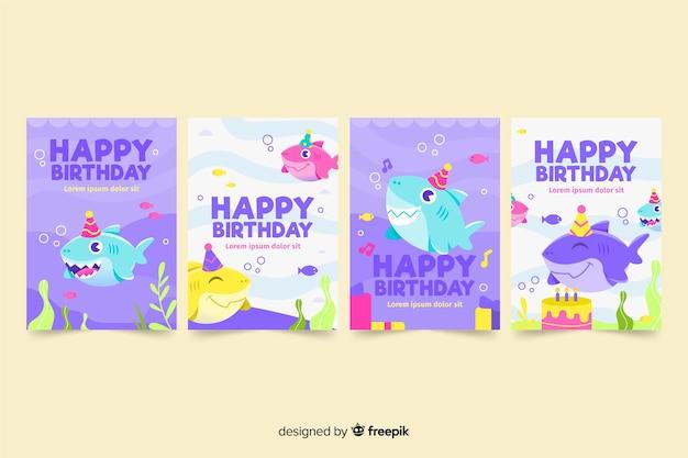 Kolekcja ręcznie rysowane kartki urodzinowe Darmowych Wektorów