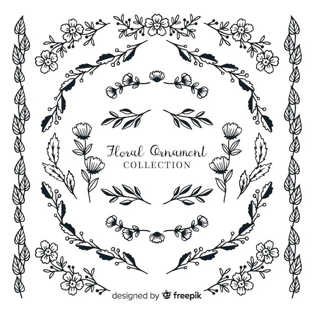 Kolekcja ręcznie rysowane kwiatowy ornament Darmowych Wektorów