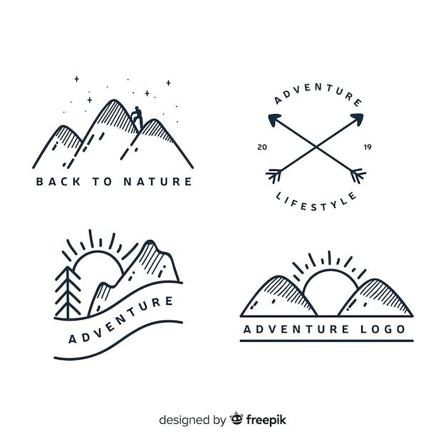 Kolekcja ręcznie rysowane logo przygody Darmowych Wektorów