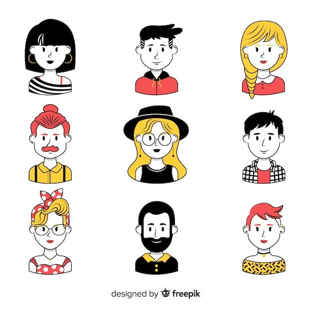 Kolekcja ręcznie rysowane ludzie avatar Darmowych Wektorów