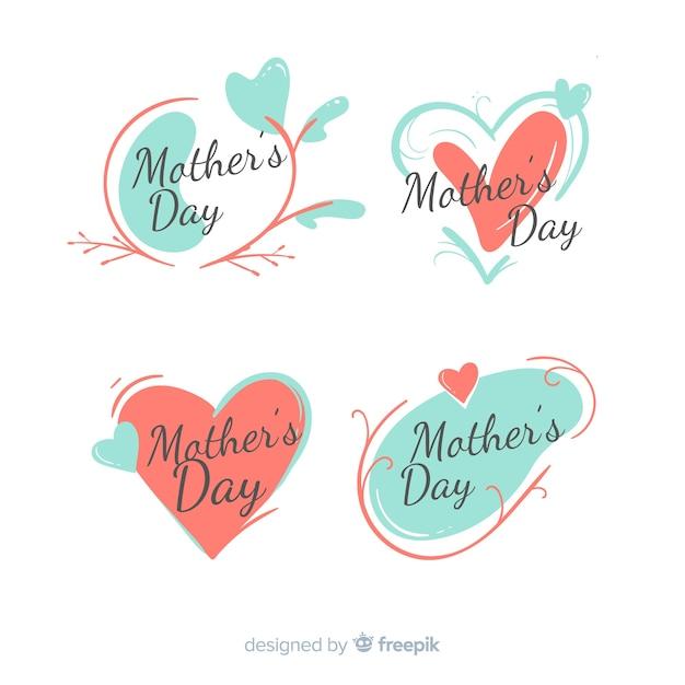 Kolekcja ręcznie rysowane odznaka dzień matki Darmowych Wektorów