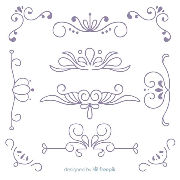 Kolekcja Ręcznie Rysowane Ornament ślubny Darmowych Wektorów