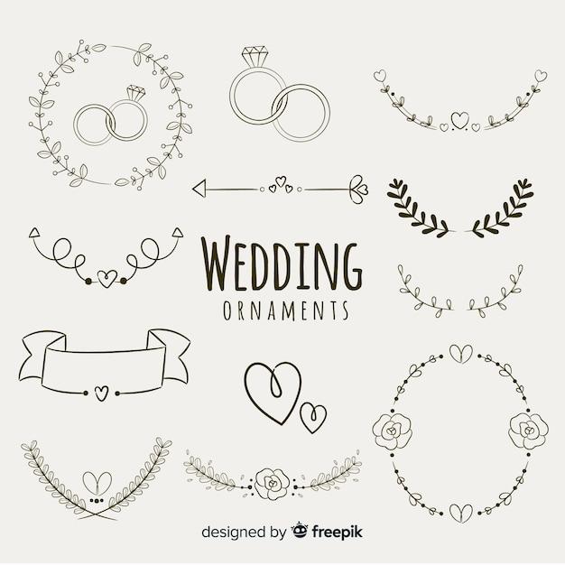 Kolekcja Ręcznie Rysowane Ornament ślubny Premium Wektorów