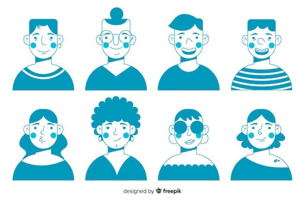 Kolekcja ręcznie rysowane osób avatar Darmowych Wektorów