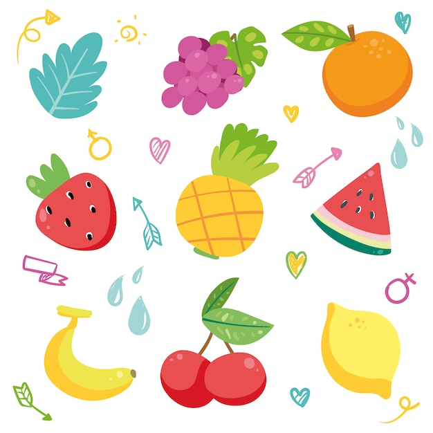 Kolekcja ręcznie rysowane owoce Darmowych Wektorów