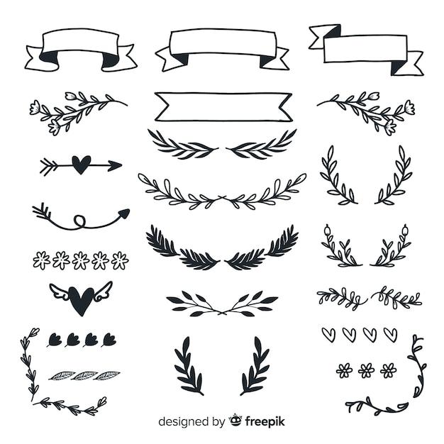 Kolekcja ręcznie rysowane ozdoby ślubne Darmowych Wektorów