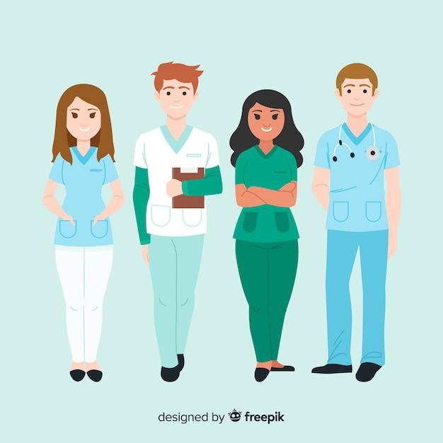 Kolekcja ręcznie rysowane pielęgniarki zespołu Darmowych Wektorów