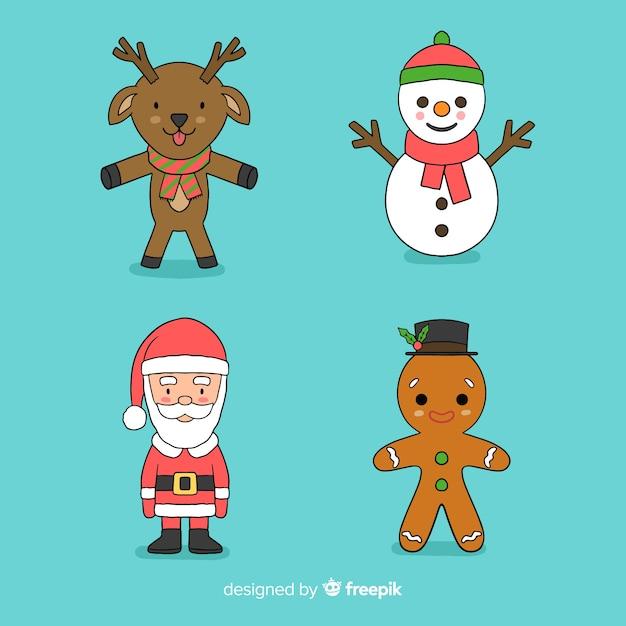 Kolekcja ręcznie rysowane postacie świąteczne Darmowych Wektorów