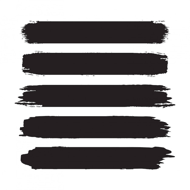 Kolekcja Ręcznie Rysowane Streszczenie Czarne Pociągnięcia Pędzlem. Zestaw Kształtów, Ramek Na Białym Tle Premium Wektorów