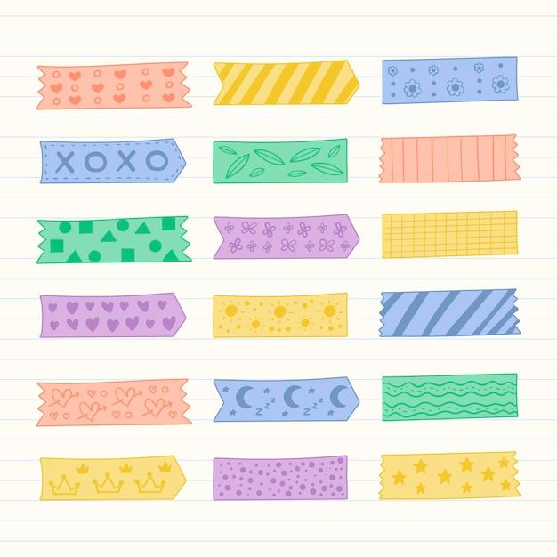 Kolekcja Ręcznie Rysowane Taśmy Washi Premium Wektorów