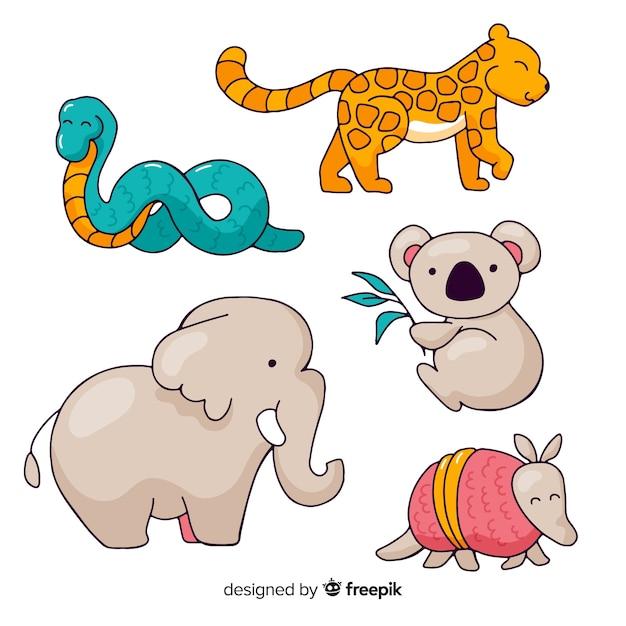 Kolekcja Ręcznie Rysowane Tropikalnych Zwierząt Darmowych Wektorów