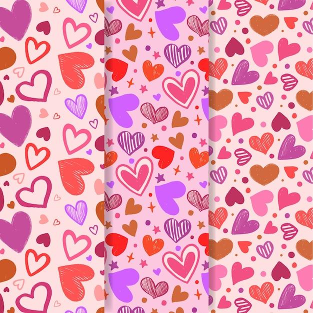 Kolekcja Ręcznie Rysowane Wzór Walentynki Darmowych Wektorów