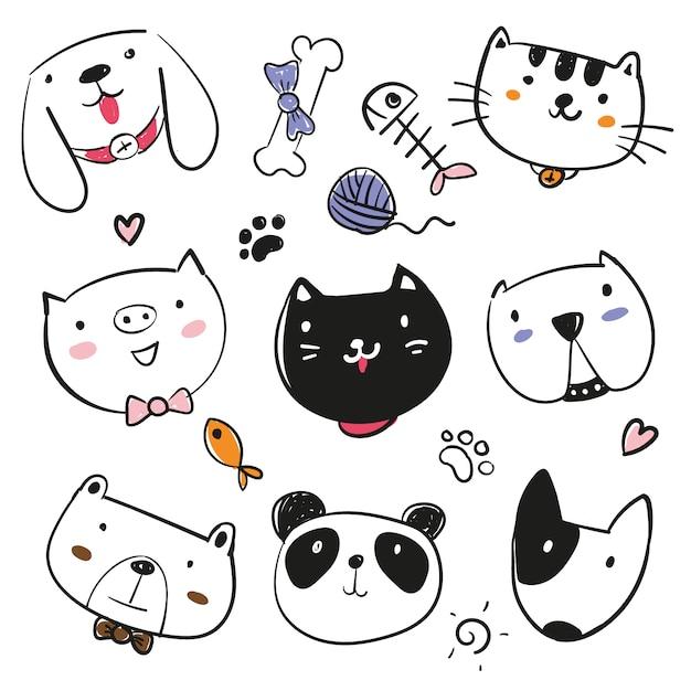 Kolekcja Ręcznie Rysowane Zwierzęta Darmowych Wektorów