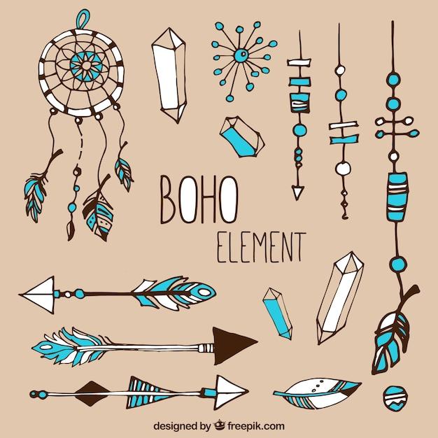 Kolekcja Ręcznie Rysowanych Elementów Boho Darmowych Wektorów