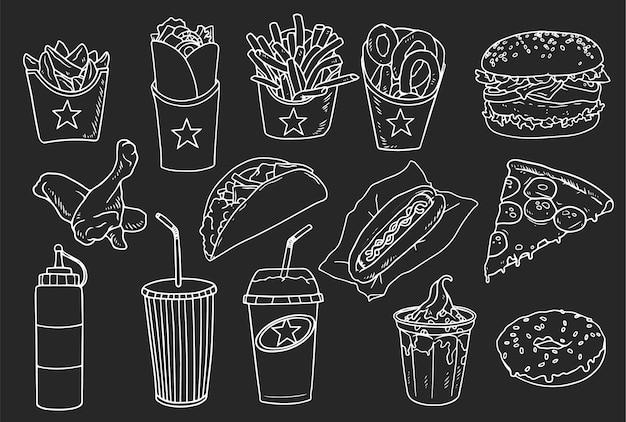 Kolekcja Ręcznie Rysowanych Elementów Fast Food Darmowych Wektorów