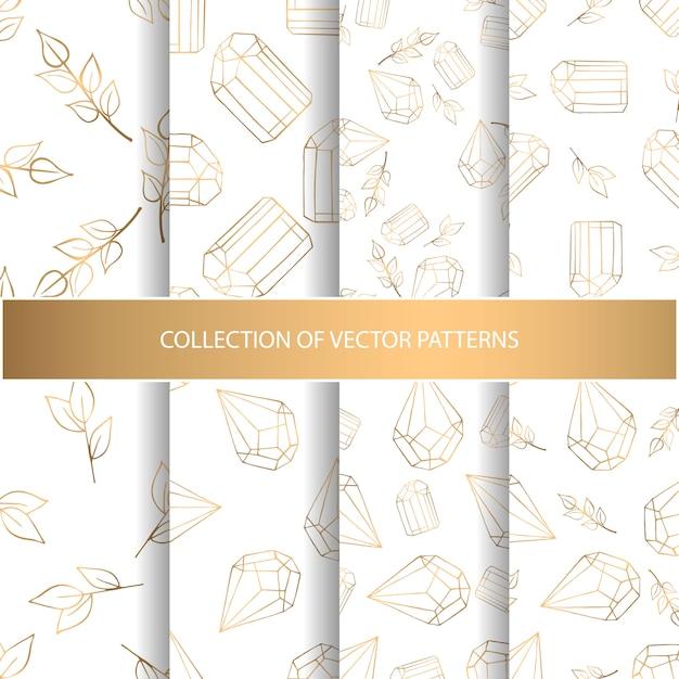 Kolekcja ręka rysujący bezszwowy wzór z kwiecistymi elementami i diamentami Premium Wektorów