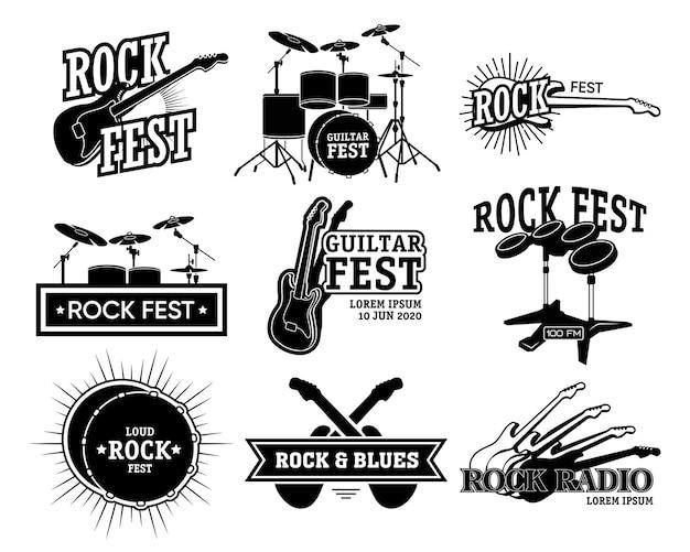 Kolekcja Retro Godło Muzyki Rockowej. Monochromatyczne Ilustracje Na Białym Tle Gitary I Perkusji, Festyn Rockowy I Tekst Radiowy. W Przypadku Ogłoszenia Koncertu Szablony Plakatów Zespołu Bluesowego Darmowych Wektorów