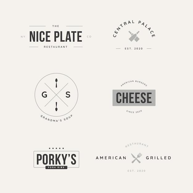 Kolekcja retro logo dla różnych restauracji Darmowych Wektorów