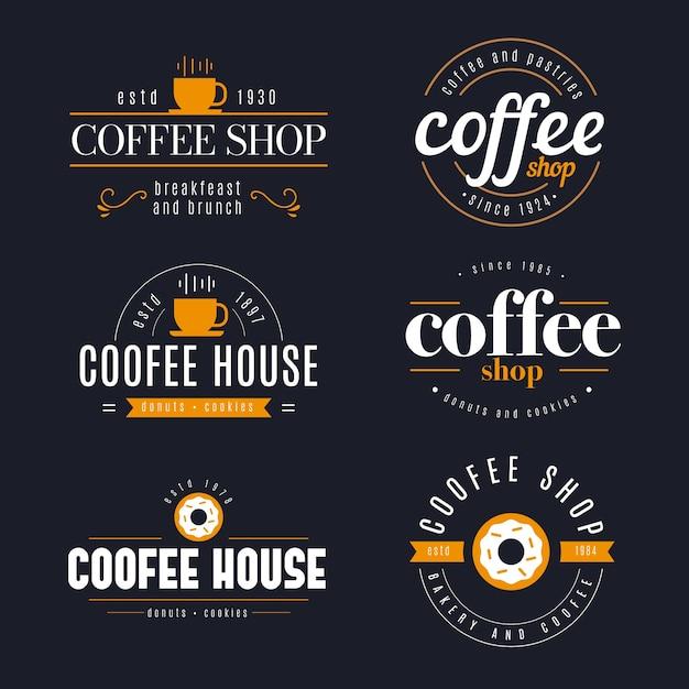 Kolekcja retro logo kawiarni Darmowych Wektorów