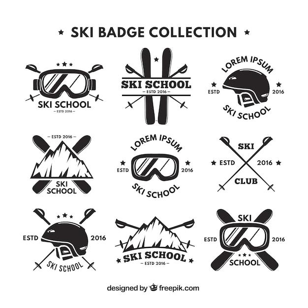 Kolekcja retro logo narciarskim Darmowych Wektorów