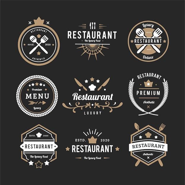 Kolekcja retro logo restauracji Darmowych Wektorów