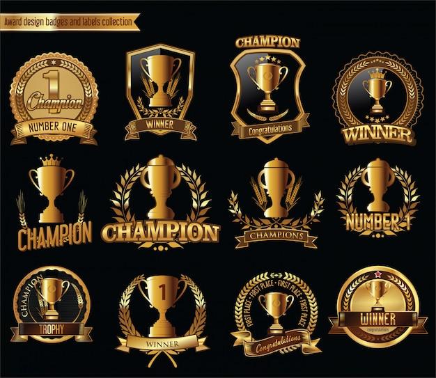 Kolekcja Retro Odznaki Trofeum Premium Wektorów
