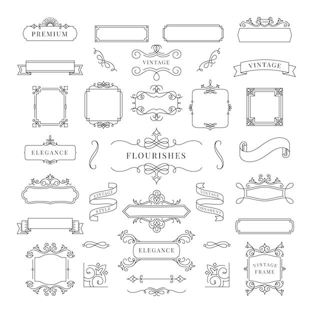 Kolekcja rocznika ornamentu ramy ilustracja Darmowych Wektorów