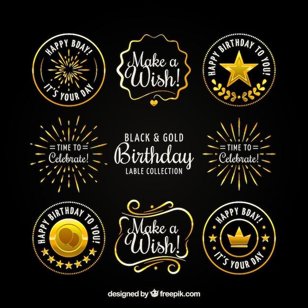 Kolekcja Rocznika Złoty Naklejki Urodziny Darmowych Wektorów