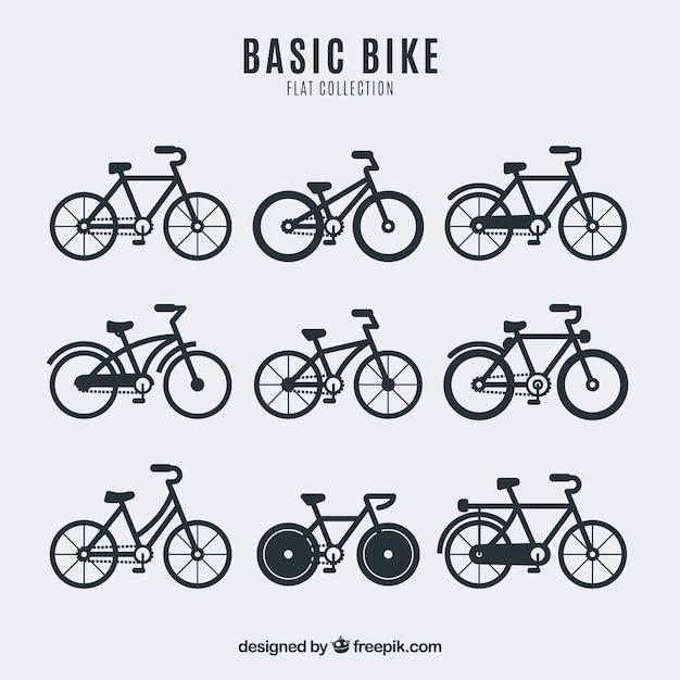 Kolekcja Rowerów W Płaskim Stylu Premium Wektorów