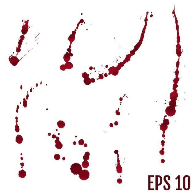 Kolekcja różnych rozprysków krwi lub farby Premium Wektorów