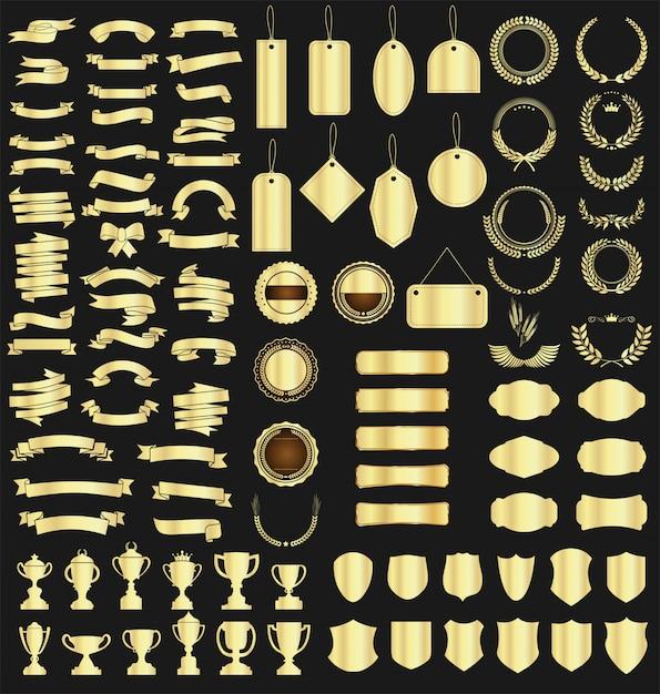Kolekcja różnych wstążek oznacza laurowe tarcze i trofea Premium Wektorów