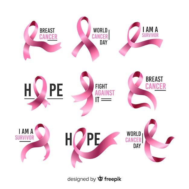 Kolekcja Różowych Wstążek Na Raka Piersi Darmowych Wektorów
